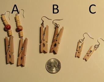 Mini clothes pin earrings