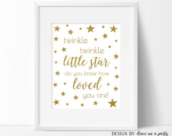 Twinkle Twinkle Little Star Do You Know How Loved You Are, Twinkle Little Star Birthday Nursery Sign Printable Wall Art Download