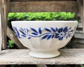 French bowl / White and Blue stencil / Large cafe au lait bowl / faceted bowl / French Kitchen / Vintage Gift