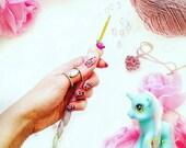 Unicorn Crochet Hook PRE-ORDER | Ergonomic Polymer Clay Fimo Aluminium | Kawaii Kitsch Novelty Cute Ombre Glitter Rainbow |Fantasy Gift