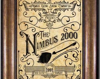 Harry Potter - Nimbus 2000 Vintage Style Ad - Quidditch, Racing Broom - Multiple Sizes 5x7, 8x10, 11x14, 16x20, 18x24, 20x24, 24x36