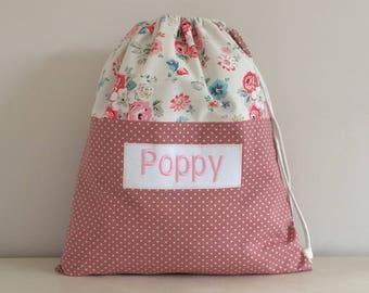 Back To School! Personalised - Pink Polka Dot PE Drawstring Bag with Cath Kidston fabric - Handmade
