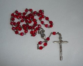 Vintage Italian Facet Cut Ruby Red Crystal Glass Catholic Holy Rosary With Silver Tone Crucifix & Centre Piece - Confirmation Gift