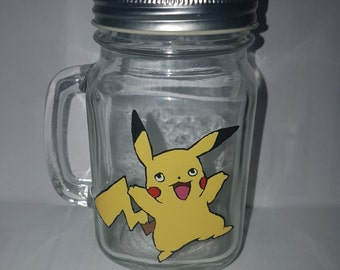 hand painted pikatchu drinking jar.