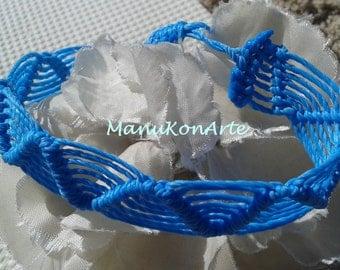 Bracelet of MACRAME waves Cavandoli TURQUOISE bracelets thread jewelry / Macrame Bracelet