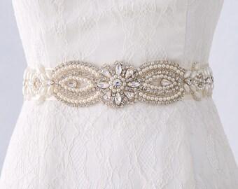 Pearl Bridal Sash Belt, Wedding Belt, Bridal Belt, Champagne Bridal Belt, Rhinestone Belt, Bridal Sashes and Belts, Ivory Bridal Belt