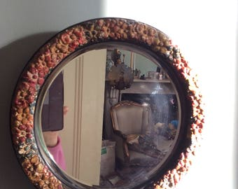 A a very pretty and versatile large circular floral Barbola  Mirror.