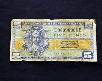 Five Cent Military Payment Certificate - Series 521 - Good -     *0101*