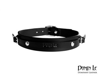 Leather Belt Choker - Black Leather collar - Black Choker