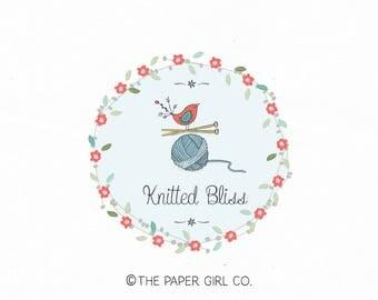 knitting logo design craft shop logo boutique logo baby logo children's logo premade logo bespoke logo pre made logo bird logo design