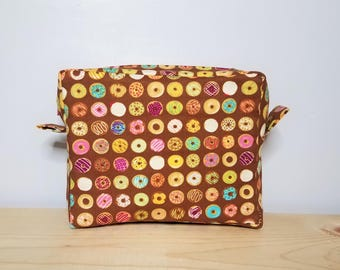 Yummy Assorted Donuts Boxy pouch - Boxy bag - doughnuts case - Zippered pouch - Planner pouch - Small activity art bag - Organizer