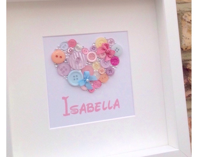 Personalised Heart Button frame gift for childrens Birthdays, New baby, Bows, Buttons, Custom Prints, Heart, 3D Box Frame, new baby gift