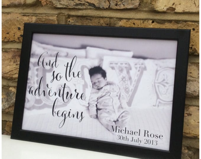 Photo with quote framed Print   Wall decor   Wedding photo   New baby photo gift   Home decor   prints   And so the adventure begins