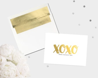 Gold Foil XO Valentine's Day Card / Hugs and Kisses Love Greeting Card Modern Valentine For Her All Occasion Card Stationery Gold Foil