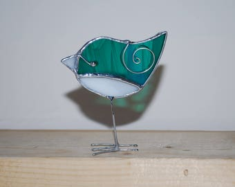 Fun 3D Stained Glass Bird Chick with legs Ornament - Teal White Baby Bird  Home Decor Suncatcher 3Dimensional Wire Wings