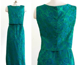 1960s two piece green and blue damask outfit