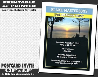 Lake Party Invitation, Printable with Printed Option, Lake Swim Theme, BBQ Cookout Invites, Summertime Water Sports