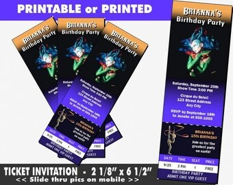 Cirque du Soleil Ticket Invitation, Printable with Printed Option, Birthday Party, Circus Party, Bat Mitzvah Invites