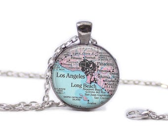 Los Angeles Map Pendant Map Necklace California Map Jewelry
