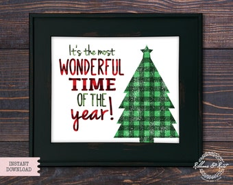 It's the most wonderful time of the year, Christmas Print, Christmas Tree, Christmas Decor, Digital Download, 8x10, Art, Christmas Gift