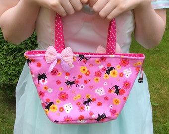Girls cat handbag / small girls bag / girls fabric bag / small girls tote bag / small pink bag / girls handbag with bows / black cat handbag