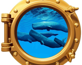 """Whale Pod Underwater Porthole Wall Graphic Decal 12"""" Removable Reusable"""