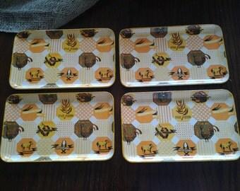 Retro Sake Serving Trays Set Of 4