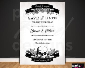 Vintage Gothic Save The Date, Printable Save The Date, Postcard, Halloween Wedding, Gothic, Skull, Roses, Til Death Do Us Part STD61