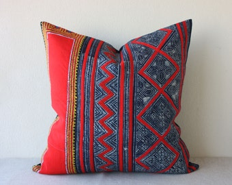 "20"" x 20"" Vintage Ethnic Hmong Hill Tribe Hand Woven Indigo Batik Hemp, Cross Stitch Pillowcase /17.23"