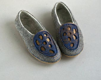 Felted Clogs Wool Loafers for Womens with Rubber soles