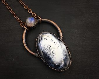 Dendritic Opal   Rainbow Moonstone   Electroformed