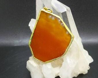 Vintage Orange Agate Slice Pendant.