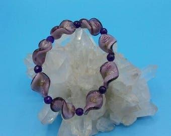 Murano Glass Spiral Beaded Stretch Bracelet.