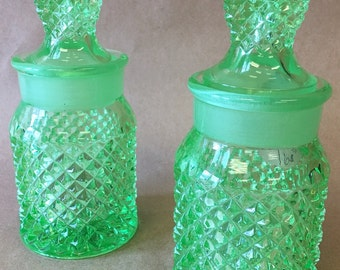 Green Cut Glass Bottle