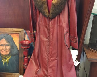 Retro red Leather coat with fur trim