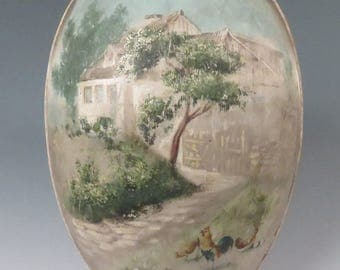 antique painted silk Easter Egg candy container