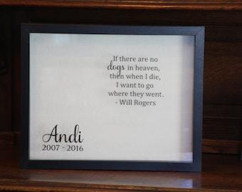 Pet Memorial Shadow Box LARGE: Dog Memorial Shadow Box, Cat Memorial, Pet Memorial Box, In Memory Of