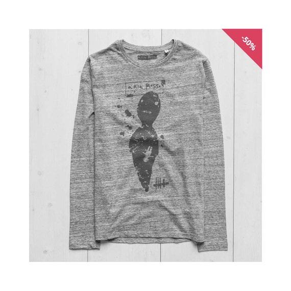 Man Graphic Tee Long Sleeve Organic Cotton Heather Grey  - Zero...