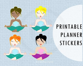 Printable Planner Stickers - Use on Planners / BUJO or Bullet Journals / Notebooks / Calendars / Scrapbooking, etc - Meditation / Meditating