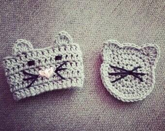 Crochet Kitty Cafe - Grey Kitty Cozy & Coaster