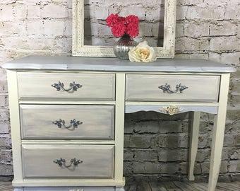 Vintage Desk/Vanity grey, cream, silver