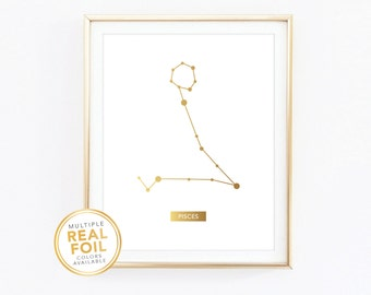 Pisces Zodiac Sign Constellation - Gold foil print, Real Foil Print, Home Decor, Wall Art, Gallery wall 4x6 5x7 8x10 8.5x11