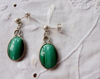 Malachite and sterling drop earrings