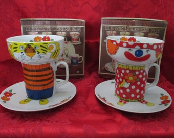 Vintage, Japan, Clown & Tiger Stacking Child's Dish Sets, Each Set is 3 Piece Ceramic Set, Cup, Bowl, Plate with Box. 1970's