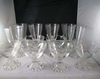 Vintage, Anchor Hocking , Berwick, Boopie, Candlewick Glasses, Set of 12, 6 - 4 oz. & 6 - 8 oz. 1950's to 1970