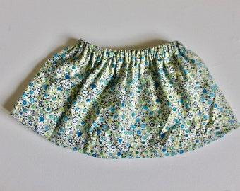 liberty blue/green skirt, skirt, girl, flowers,