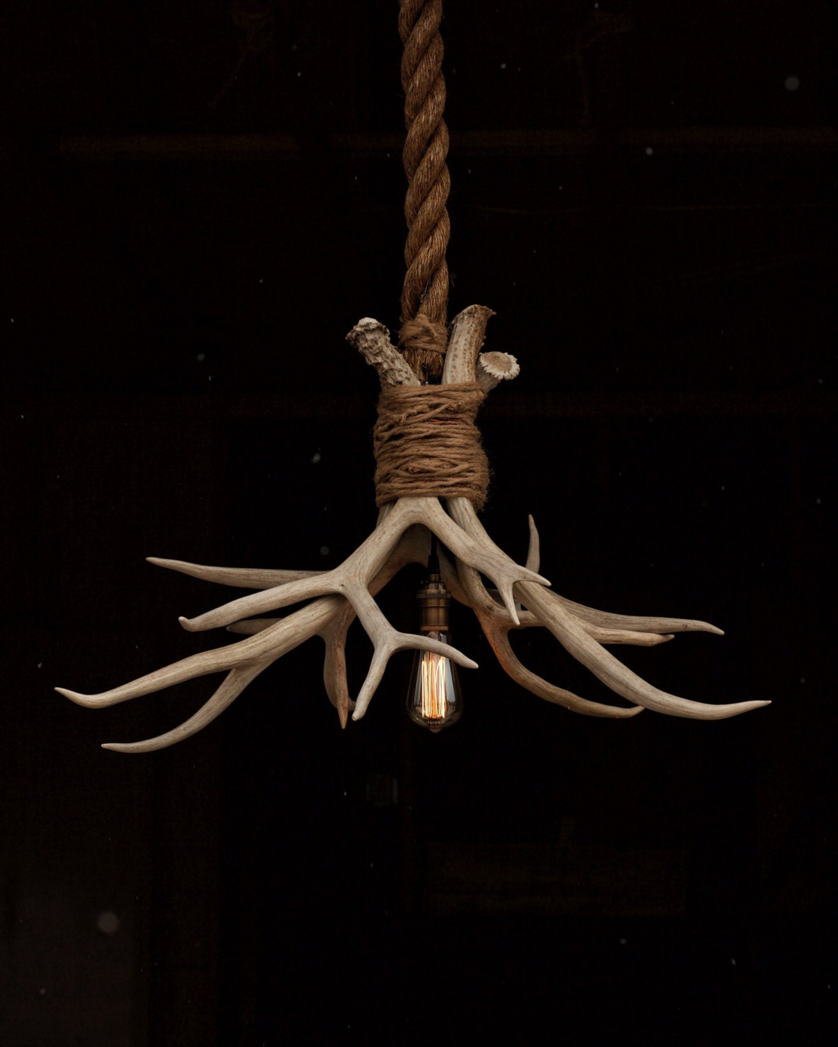The Cabin Lit Chandelier Antler Shed Pendant Rope By