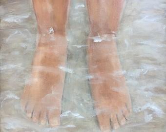 "Original Acrylic Painting on canvas ""Beach Feet"" 12 x 12  ***Free Shipping!***"