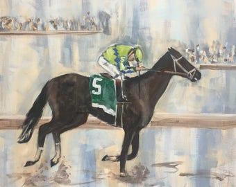 "Original Acrylic Painting, ""Kentucky Derby Winner 2017"".  20 x 20"