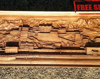 Potala Dalai Lama Wood Carving Wall Hanging Home Decor Woodwork Art Housewarming Gift Landscape Rustic Room Wall Decor Spiritual Picture